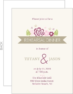 Pink Flowers Rehearsal Dinner Invitation