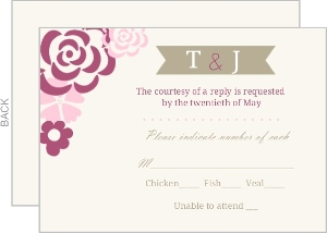 Pink Flowers Response Card