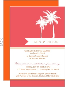 Pink and Orange Tropical Destination Wedding Reception Card