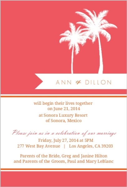 Pink and Orange Tropical Destination Wedding Reception Card ...