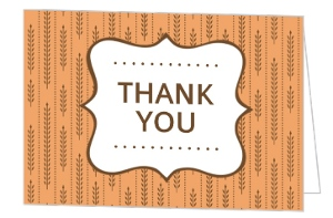 Fall Wheat Orange and Brown Thank You Card