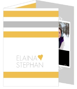 Gray and Yellow Soft Stripes Wedding Invitation