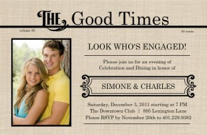 Antique News Engagement party invitation by Wedding Paperie.