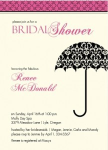 Black, Pink and Cream Damask bridal shower invitation by Wedding Paperie.