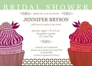 Pink Cupcake Bridal Shower invitation by Wedding Paperie.
