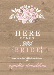 brown and pink wood country floral bridal shower invite by wedding paperie