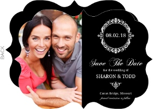 Black Floral Monogram Save The Date Announcement