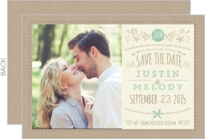 Nature Mint Kraft Save The Date Card