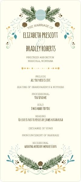 Woodland Rustic Frame Wedding Program Wedding Programs