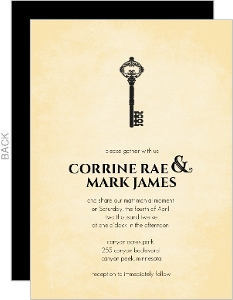 Black Rustic Antique Key Wedding Invitation