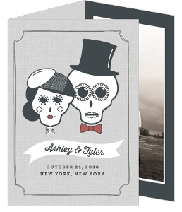 Sugar Skulls Bride and Groom Halloween Wedding Invitation