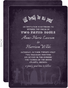 Till Death Do Us Part Zombie Halloween Wedding Invitation