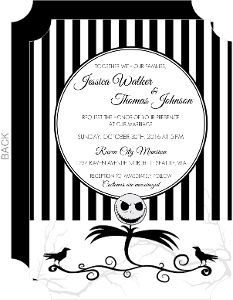 Black and White Scarecrow Halloween Wedding Invitation