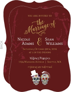 Blood Splatter Sugar Skull Halloween Wedding Invitation