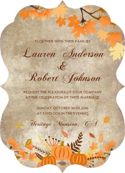 Rustic Pumpkin And Leaves Wedding Invitation Halloween Wedding