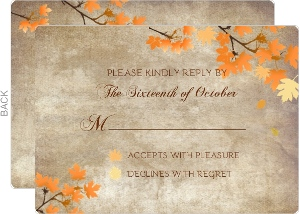 Rustic Pumpkin and Leaves Wedding Response Card