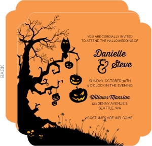Scary Silhouettes Halloween Wedding Invitation