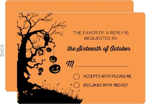 Scary Silhouettes Halloween Wedding Response Card