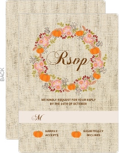 Autumn Floral Wreath Wedding Response Card