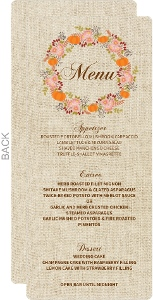 Autumn Floral Wreath Wedding Menu Card