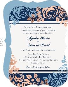 Romantic Floral and Faux Copper Foil Wedding Invitation