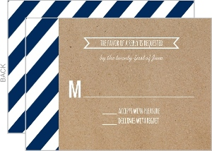 Navy Stripes and Kraft Banner Wedding Response Card
