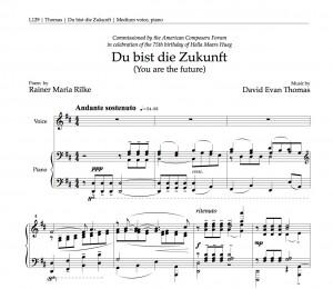 """Opening bars of """"Du bist die Zukunft,"""" by David Evan Thomas"""