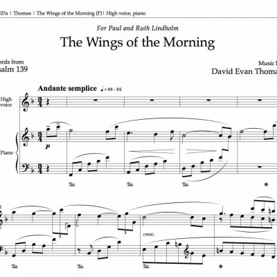 "Opening bars of sacred solo""Wings of the Morning,"" by David Evan Thomas"