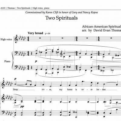 Opening bars of Two Spirituals, by David Evan Thomas