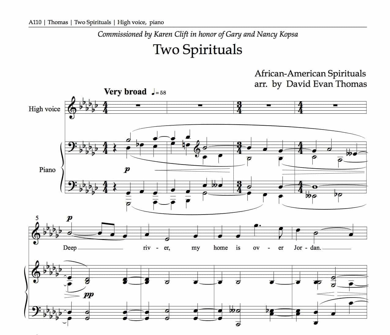 Opening bars of Two Spirituals, by David Evan Thomas