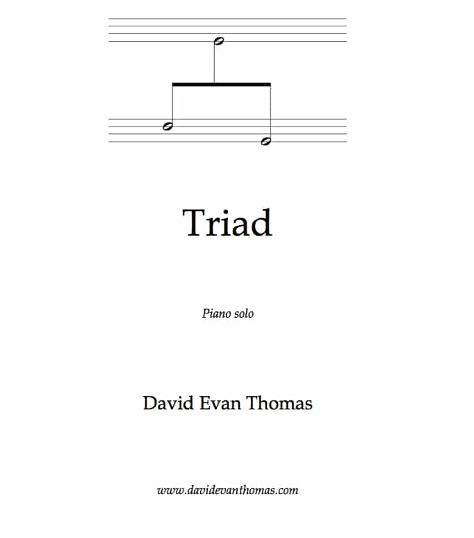 Product image for triptych Triad: 3 notes in different staves