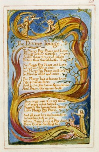 Blake's illuminated ms for humanist song, The Divine Image