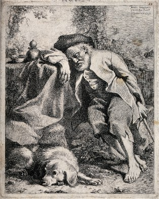 sleeping shepherd woodcut