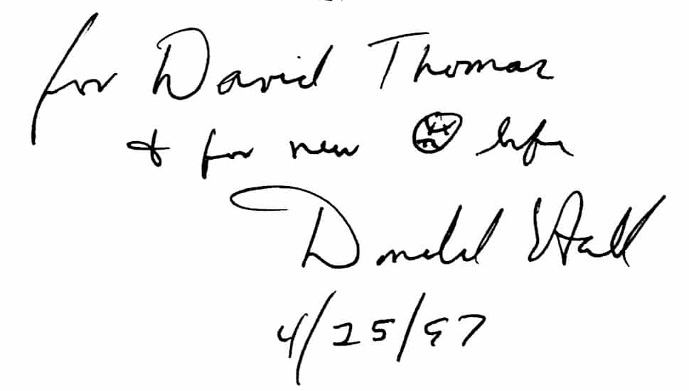 baseball songs inscription from Donald Hall