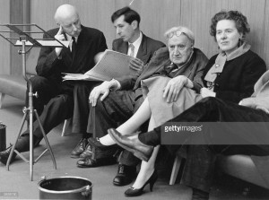 Sir Adrian Boult, Michael Tippett, Vaughan Williams and Ursula Vaughan Williams, at a rehearsal of Sir Michael Tippett's Second Symphony