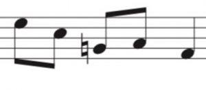 6 notes describing cross shape