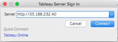 Tableau Server sign-in URL