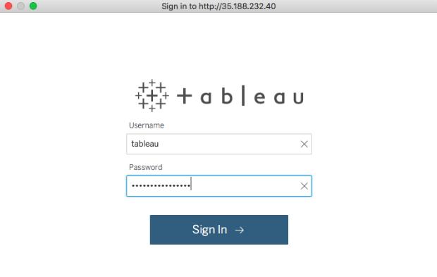 Tableau Server login page