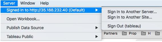 Tableau Server connection verification