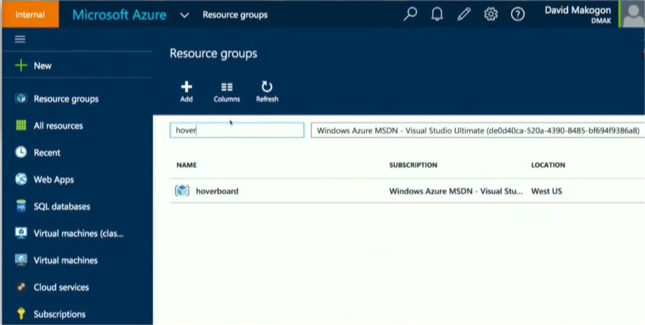 The Resource Group Navigation in Microsoft Azure