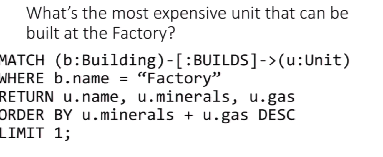 A Cypher Query for the Most Expensive Unit that can be Built at the Factory