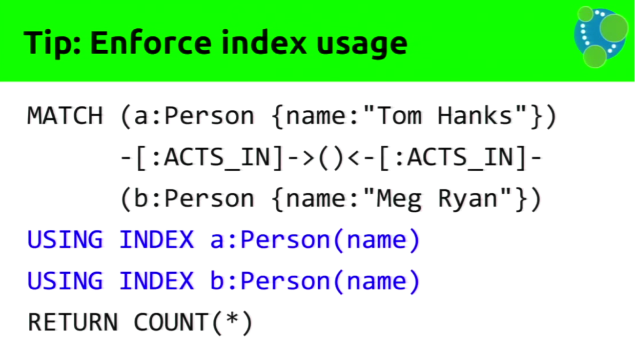 A Cypher Query using Enforced Index Usage