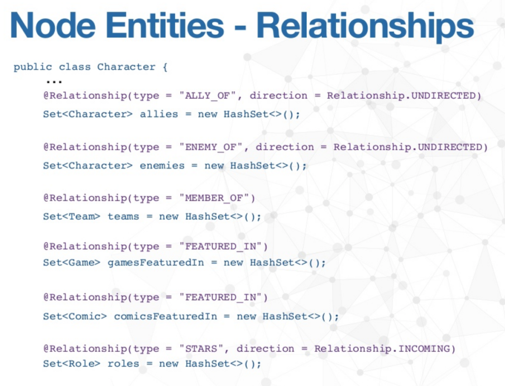 The Node Entities of Relationships