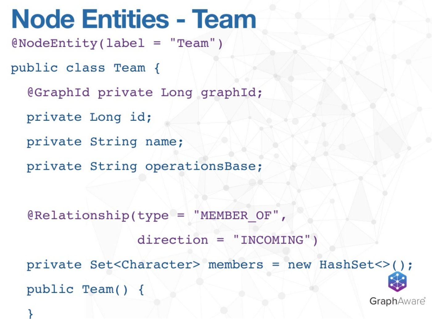 The Node Entities of Teams in our Superhero Graph Application Example