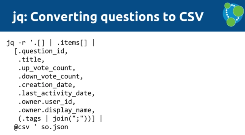Using jq for CSV data conversion
