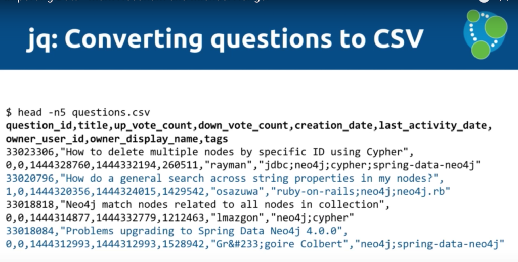 The jq tool for working with CSV data