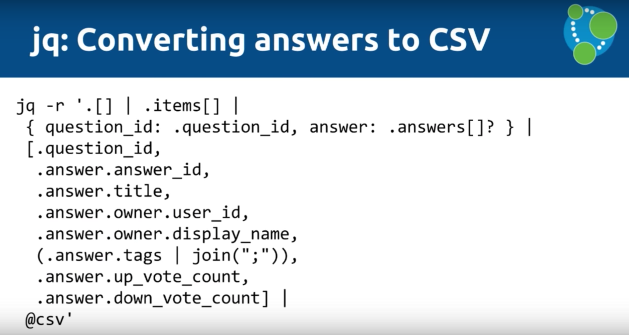 The jq tool for data conversion of CSV