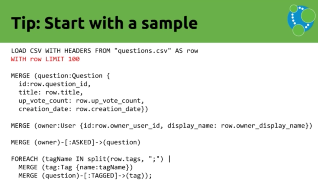 Data import tip: Start with a sample