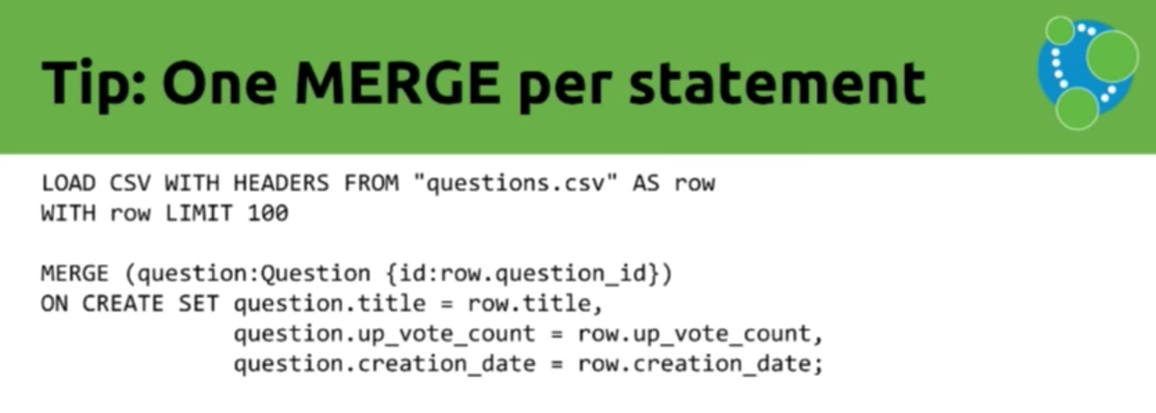Data import tip: One MERGE per statement