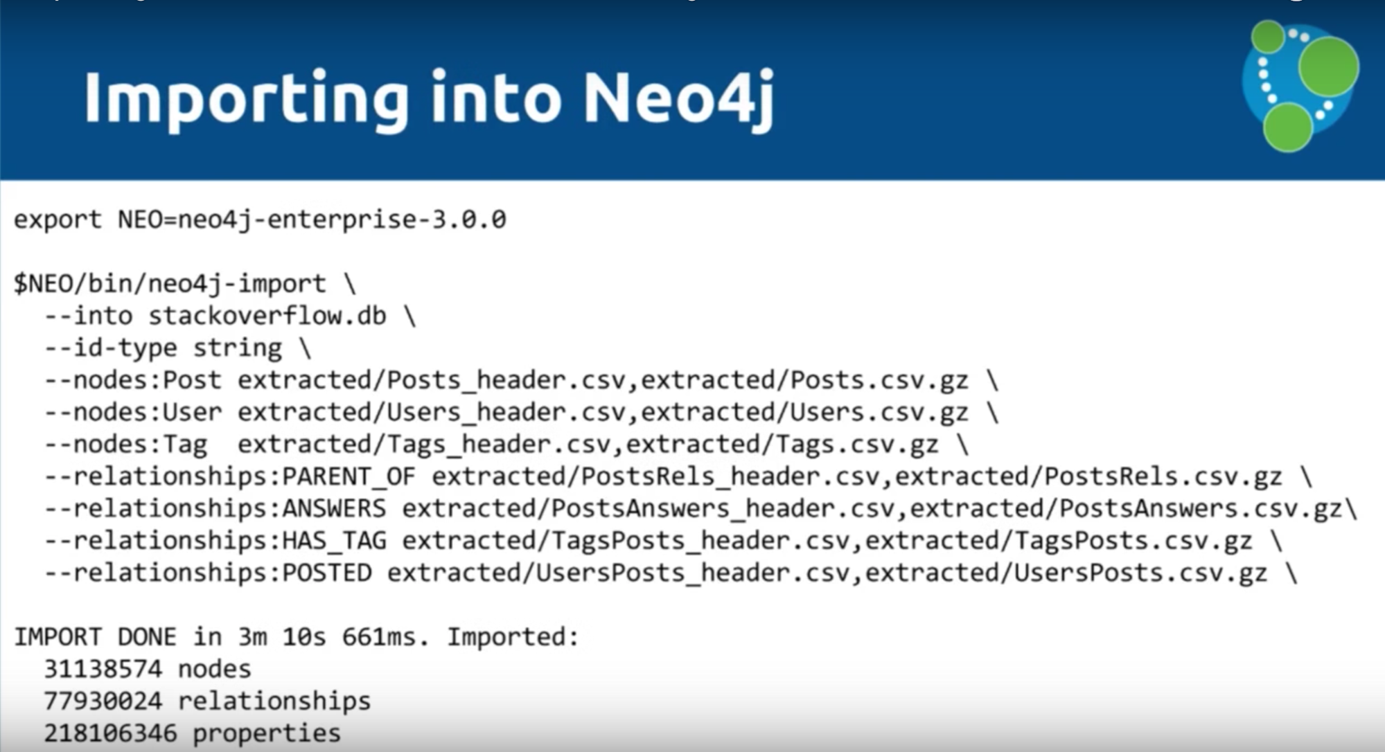 A data import example for Neo4j 3.0